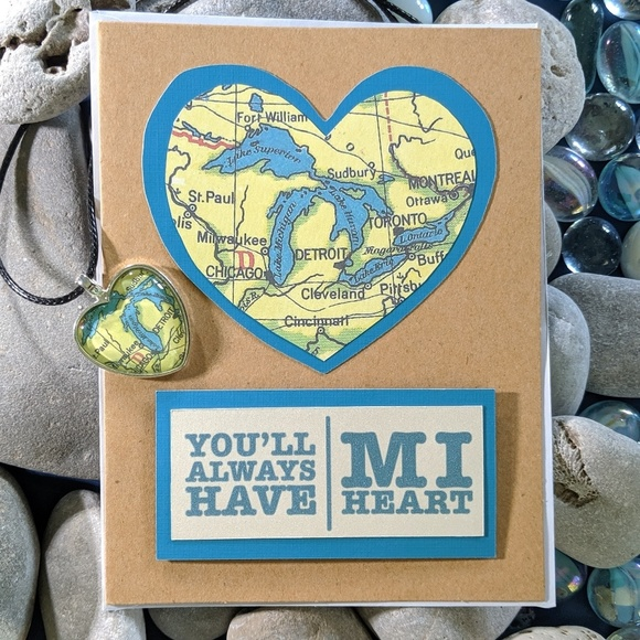 Design Chaser Studio Other - You'll Always Have MI Heart Michigan Pendant Set